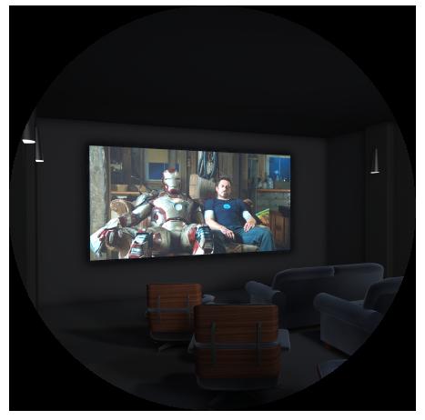 cinema render in circle